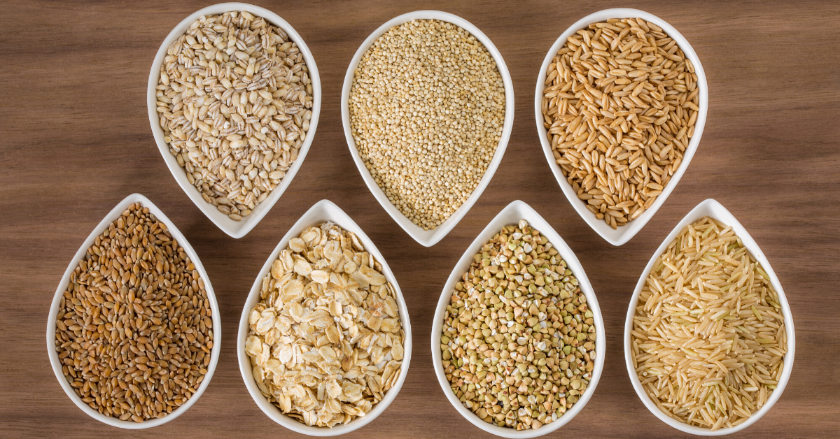Various whole grains in containers - Plan healthy family meals in 5 steps - Whole Family Living