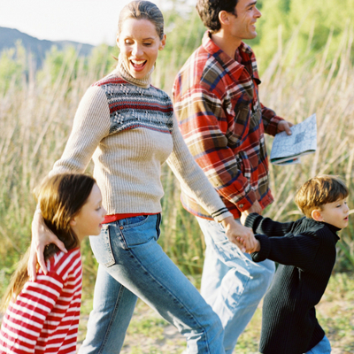 Technology-free Hobbies for the Whole Family - Whole Family Living. Family hiking outside enjoying nature.