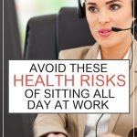 Woman at work sitting at computer desk wearing a telephone headset. Health Risks of Sitting All Day at Work - Whole Family Living