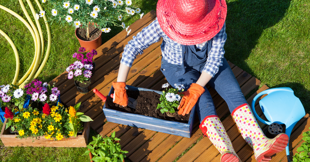 woman working on her gardening hobby, planting colorful flowers in a planter. Best Hobbies for Stress Relief After a Busy Day at Work - Whole Family Living