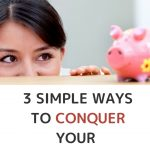 EEasy ways to conquer financial fears. Woman smiling while looking at a pink piggy bank.