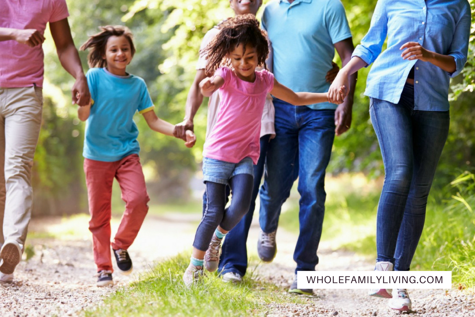 Creating a Fitness Plan for the Whole Family. Family with parents, grandparents, and kids walking and exercising outside.