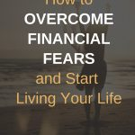 Easy ways to conquer your financial fears. Joyful woman standing on the beach at sunset with arms extended upward.