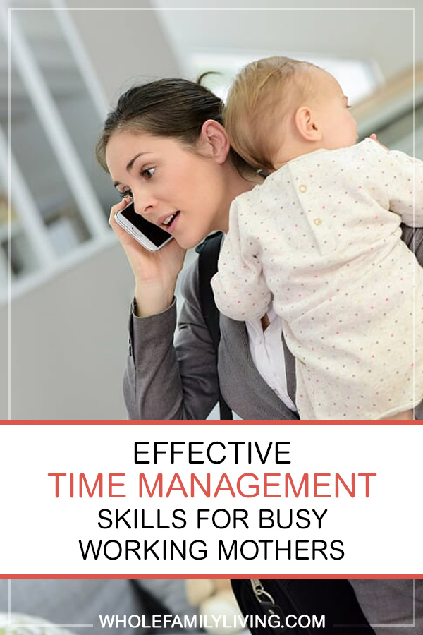 Must-have Time Management Skills for Busy Working Moms. Busy mom dressed in business attire holding baby while talking on the phone.