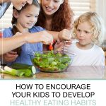 Encourage Your Kids to Develop Healthy Eating Habits. Family of four preparing a healthy meal together in the kitchen.