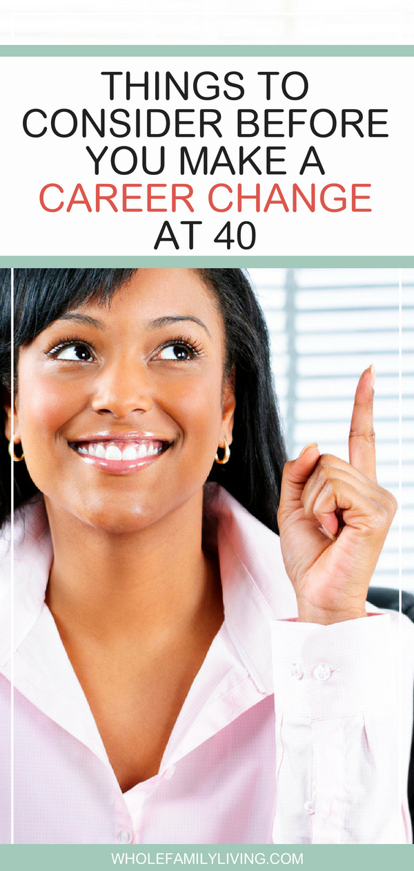 Things to Consider Before You Make a Career Change at 40. Woman sitting in her office having an ah-ha moment.