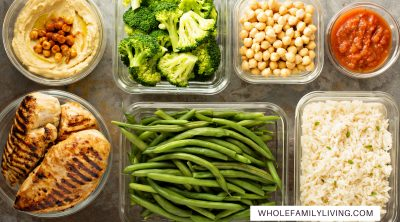 Batch-cooking for Smaller Families: Shop Wisely and Save Time & Money - Whole Family Living. Meal-prepped food neatly portioned into containers.