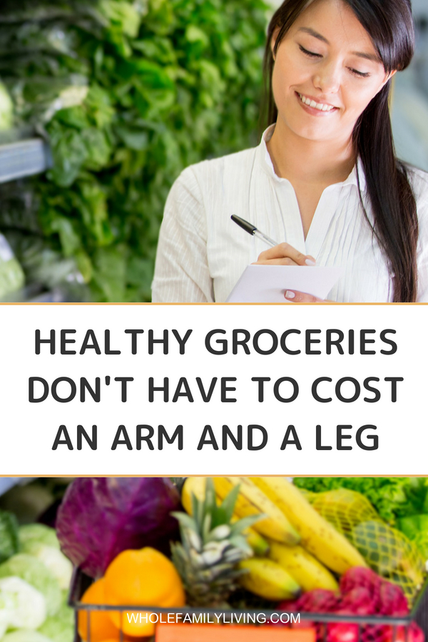 Creating Healthy, Budget-friendly Meals for the Whole Family - Whole Family Living. Woman shopping in the produce section of the supermarket and looking at her grocery list.