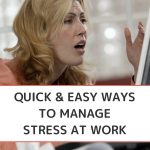 How to Manage Stress at Work - Whole Family Living. Woman at work looking at computer with stressed look on her face.