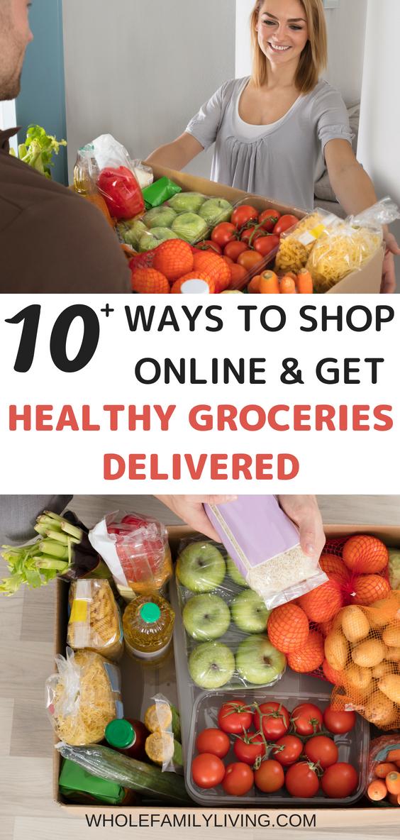Skip the Lines: Buy Healthy Groceries Online Without Ever Leaving Home. Woman receiving delivery of healthy groceries at home.