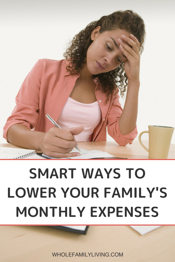Smart Ways to Cut Your Family's Monthly Expenses - Whole Family Living. Woman sitting at table with coffee paying bills.