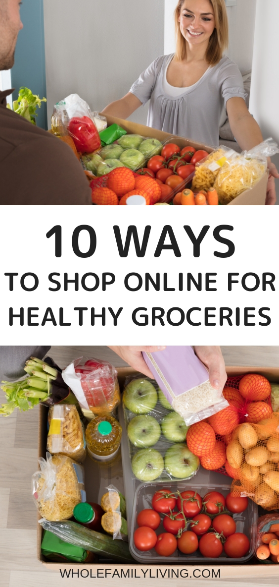 10 Ways to Buy Healthy Groceries Online. Healthy groceries being delivered to a woman at home.