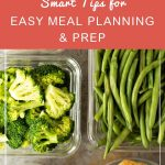 Smart Tips for Easy Meal Planning and Prep | Whole Family Living. Healthy meal-prepped food in clear containers.