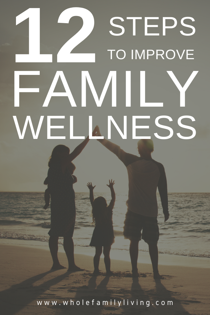 Family standing on the beach at sunset. 12 Steps to Improve Family Wellness - Whole Family Living