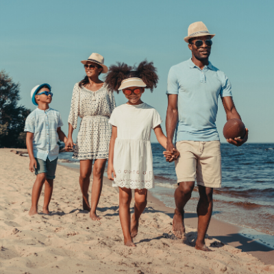 Family of 4 walking on the beach. 17 Examples of Family Goals to Work on This Year - Whole Family Living