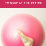 Woman doing exercise with a fitness ball. Best Exercise Equipment to Keep at the Office - Whole Family Living