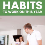 Parents and child in the kitchen with father preparing a meal. Healthy Family Habits to Start Practicing Now - Whole Family Living
