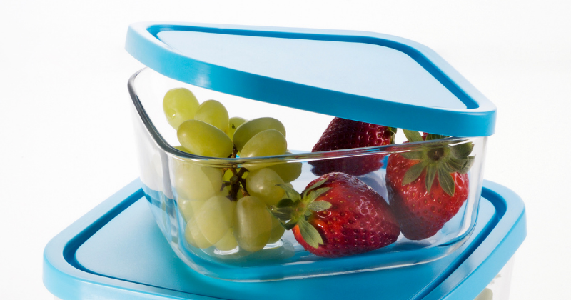 Fruit in a glass storage container with lid. Non-toxic Glass Food Storage - Whole Family Living