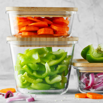 Chopped vegetables in glass food storage containers. Best Non-toxic Glass Food Storage Containers - Whole Family Living
